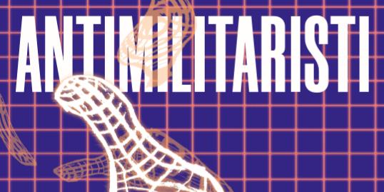 Antimilitaristin paperiversion 1/2020 kansikuvassa violetilla ruutupohjalla kuvattu valkoisesta ruudukosta muodostuva käsi kurottuu ylöspäin avautuneena lukijaa kohti.