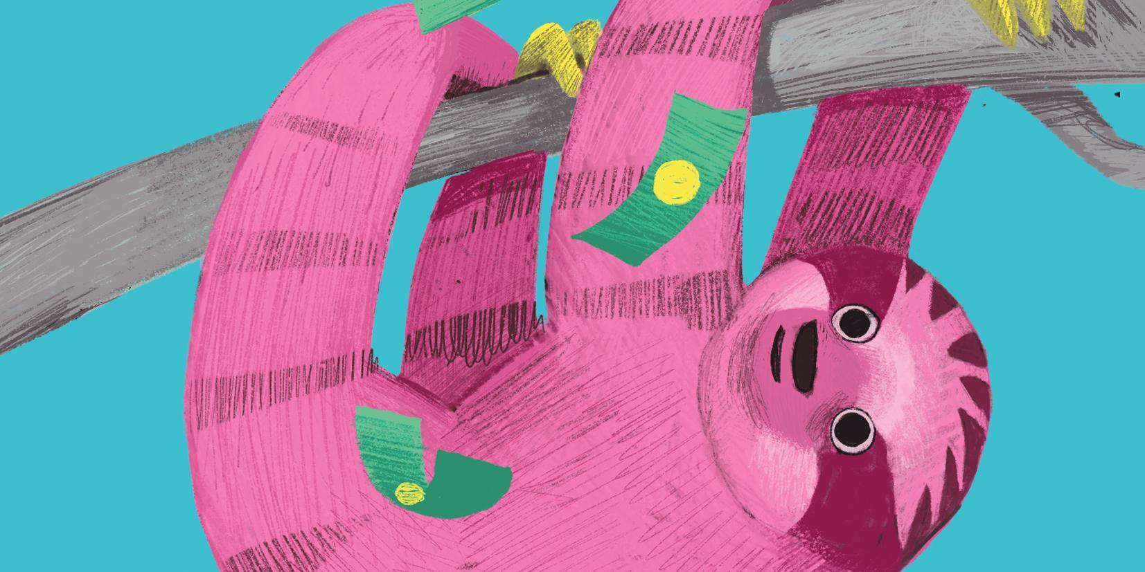 Työstäkieltäytyjän käsikirjan kannessa piirretty vaaleanpunainen laiskiainen roikkuu sinisellä pohjalla neljän raajan varassa puusta ja taivaalta sataa rahaa sen päälle,