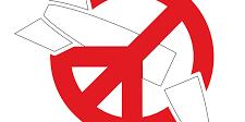 ICAN Finlandin logossa punainen rauhanmerkki on asetettu ikään kuin kieltomerkiksi ohjuksen päälle.