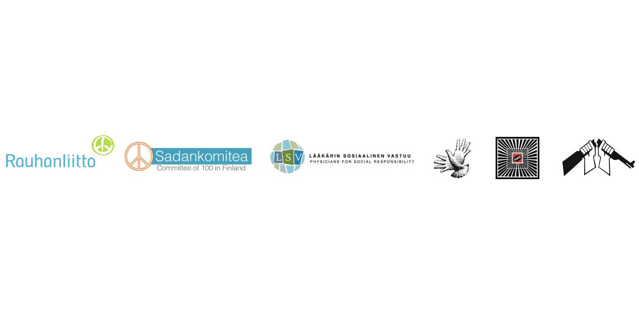 Rauhanjärjestöjen Aseistakieltäytyjäliitto, Lääkärin sosiaalinen vastuu, PAND - Taiteilijat rauhan puolesta, Suomen Rauhanliitto, Suomen Rauhanpuolustajat ja Suomen Sadankomitea logot.