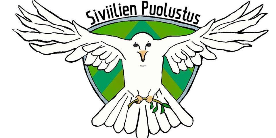 Siviilien puolustus -projektin logossa kyyhkynen lentää vihreällä pohjalla kohti katsoaa kantaen jaloissaan oksaa. Kyyhkysen pään päällä on teksti Siviilien puolustus.