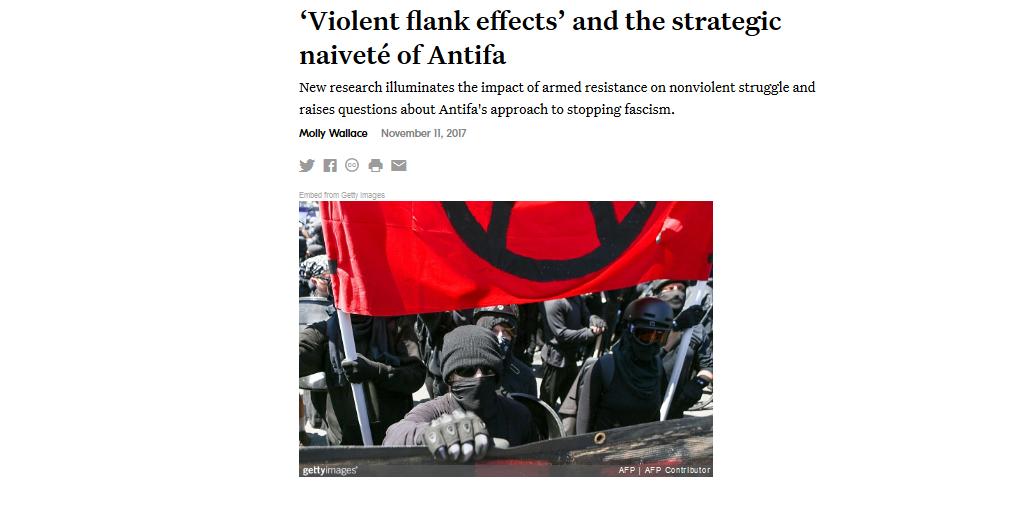 Kuvakaappaus Waging Nonviolence -sivustolta, jolla on julkaistu