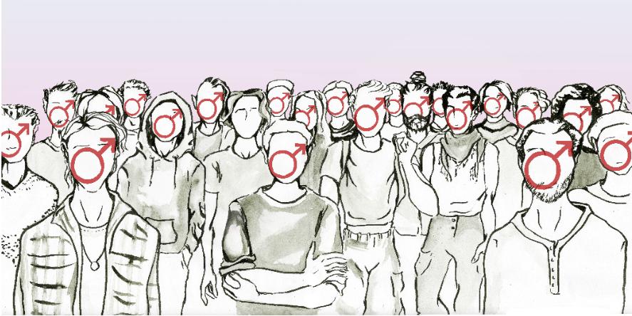 Kymmenet piirretyt hahmot ovat kääntyneinä kohti katsojaa, useimpien kasvojen paikalla on maskuliinisuutta kuvaava marssymboli. Yhden hahmon kasvot ovat tyhjät.