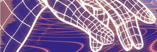 Violetilla pohjalla kurottuu valkeasta verkkomaisesta materiaalista koostuva virtuaalikäsi sormet harallaan vasemmalta oikealle.