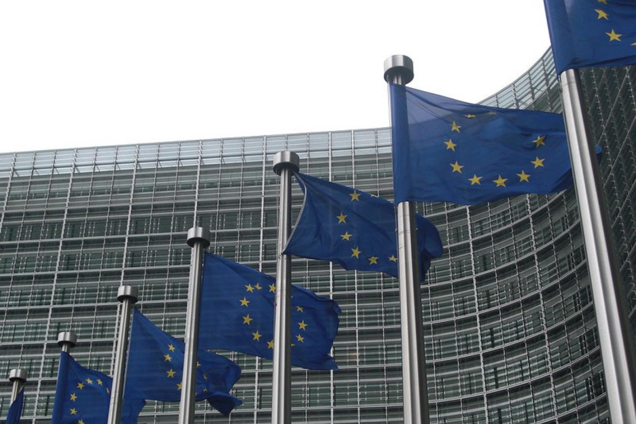Kuvassa EU:n lippuja rivissä liehumassa.