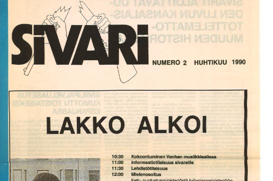 """Vanhan Sivari-lehden kansi. Yläreunassa lukee """"Laiton lakkoekstra"""", ensimmäisenä otsikkona Lakko alkoi."""