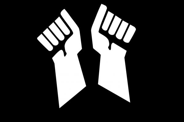 Piirroskuva. Aseistakieltäytyjäliiton logo: Kaksi kättä katkaisee kiväärin kahtia.
