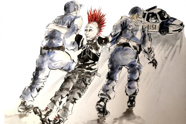 Piirroskuva. Kaksi poliisi raahaa punk-henkiseen asuun pukeutunutta, irokeesi-hiuksista nuorta kohti poliisiautoa.