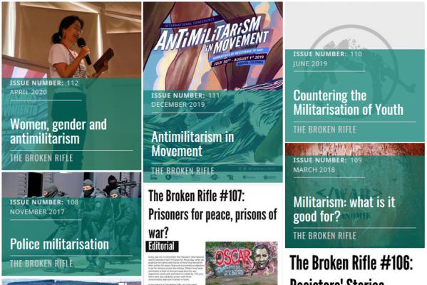 """Broken Rifle -lehden sivulla näkyy kuvia otsikoita kuten """"Women, gender and antimilitarism"""", """"Antimilitarism in Movement"""" ja """"Countering the Militarisation of Youth""""."""