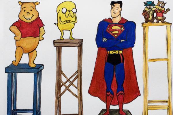 Sarjakuva- ja elokuvahahmoja, kuten Teräsmies ja Nalle Puh seisoo ei kokoisilla jakkaroilla. Hahmot ovat eri korkuisia, mutta jakkarat korottavat heidän päälakensa samaan korkeuteen.