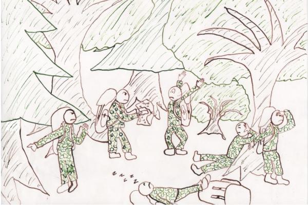 Piirretyt varusmiehet sohlaavat metsän keskellä kukin omiaan, toiset kiistelevät suuunnasta kartan ja kompassin kanssa, yksi kuorsaa etualalla, toiset osoittelevat ja tähystelevät kuka mihinkin suuntaan.