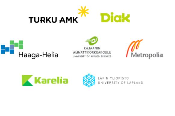 Valkoisella pohjalla on Turun ammattikorkeakoulun, Diakonia ammattikorkeakoulun, Haaga-Helian, Karelia ammattikorkeakoulun, Kajaanin ammattikorkeakoulun, Metropolian ja Lapin yliopiston logot.