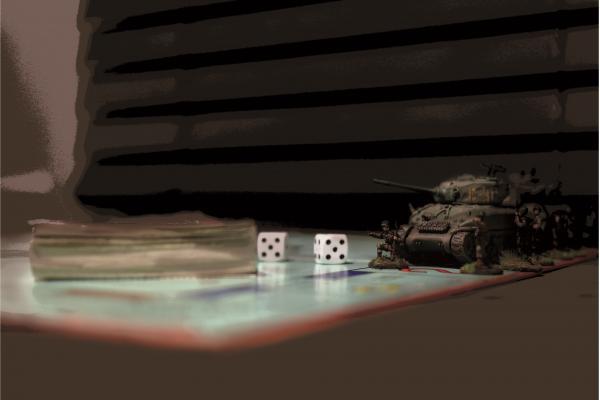 Antimilitaristin 4/2019 kansikuvassa pelilaudalle on asetettu pienoiskokoinen tankki, lelusotilaita ja kaksi noppaa.